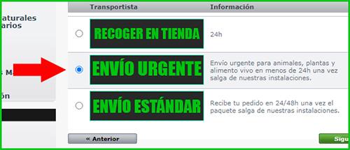 Envío urgente en Exofauna
